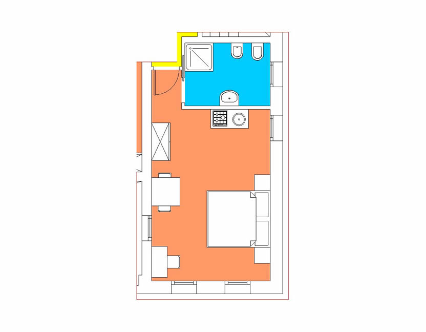 Studio Apartment, Barchessa top floor 2+0
