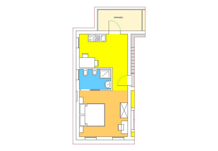 Studio apartment with terrace, Palazzo top floor 2+0