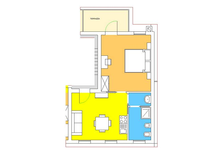 Two-room apartment with terrace, Palazzo top floor 2+0